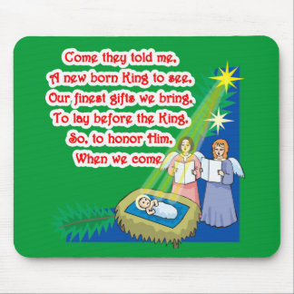 Little Drummer Boy Lyrics on T shirts and Gifts Mouse Pad