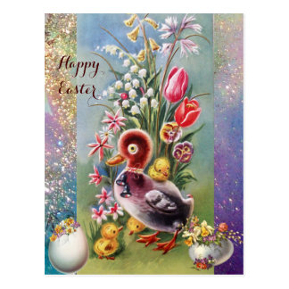 LITTLE DUCK,CHICKENS,EASTER EGGS WITH FLOWERS POSTCARD