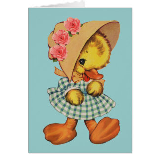 Little Duck in Dress and Bonnet Greeting Card