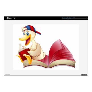 Little duck reading a book laptop decal