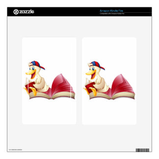 Little duck reading a book skin for kindle fire