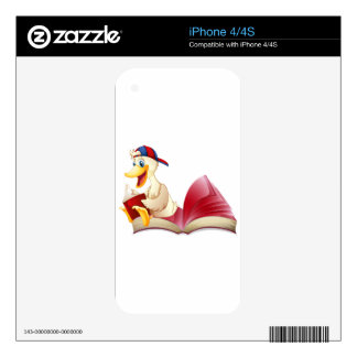 Little duck reading a book skin for the iPhone 4