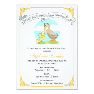 Little Ducklings | Twin Gender Reveal Baby Shower Card