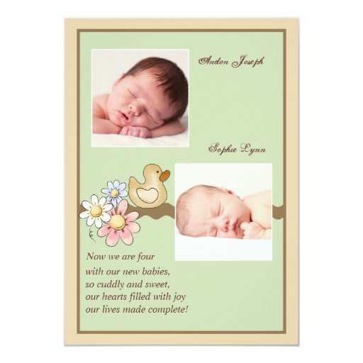 Little Ducky Twins Two Photo Birth Announcement