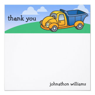 Little Dump Truck Personalized Thank You Card