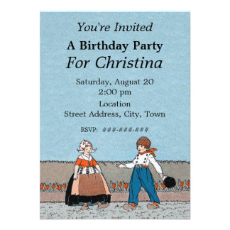 Little Dutch Girl Boy Traditional Dress Birthday Personalized Invite