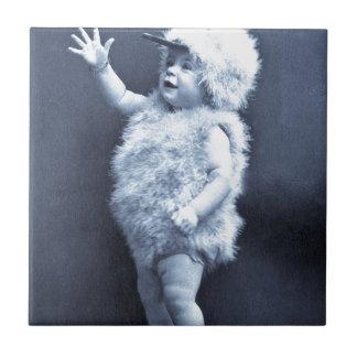 Little Easter Duck Girl Vintage Tile