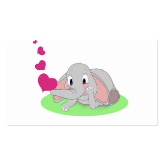 Little Elephant Blowing Pink Hearts Business Card Template