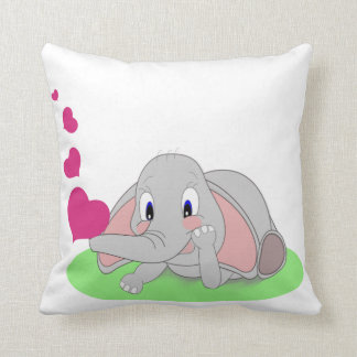 Little Elephant Blowing Pink Hearts Customizable Throw Pillow