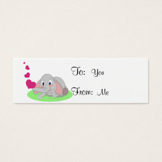 Little Elephant Blowing Pink Hearts Mini Business Card