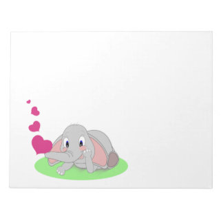 Little Elephant Blowing Pink Hearts Note Pad