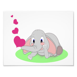 Little Elephant Blowing Pink Hearts Photo Print