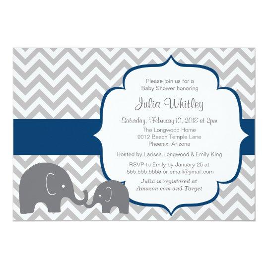 Little Elephant Chevron Editable Color Baby Shower Invitation