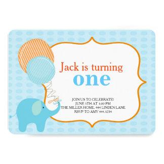 Little Elephant First Birthday Invitations
