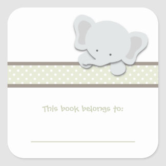 Little Elephant {Green} | Bookplates Square Stickers