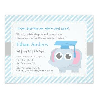 Little Elephant Kids Kindergarten Graduation Party 4.25x5.5 Paper Invitation Card