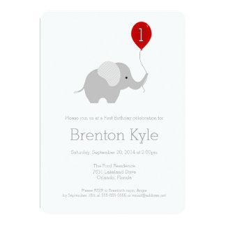 "Little Elephant with Balloon Birthday Invitation 5"" X 7"" Invitation Card"