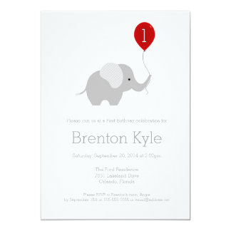 Little Elephant with Balloon Birthday Invitation 2