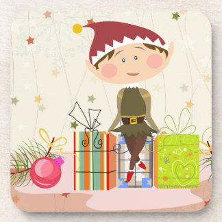 Little Elf-Girl and Christmas Presents Beverage Coaster