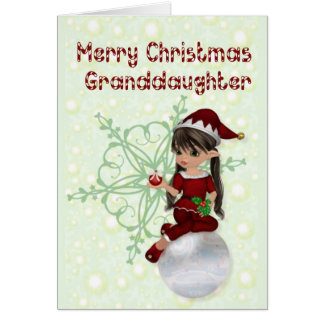 Little Elf Merry Christmas Granddaughter Card