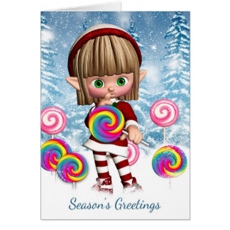Little Elf With Candy Pops And Snow Background Card