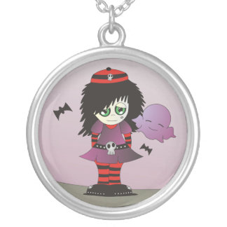 Little Emo Girl - Elzie and her friends! Silver Plated Necklace