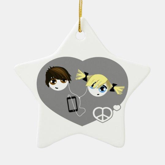Little Emo Kids Christmas Ceramic Ornament