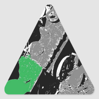 Little Engine in the Leaves Triangle Sticker