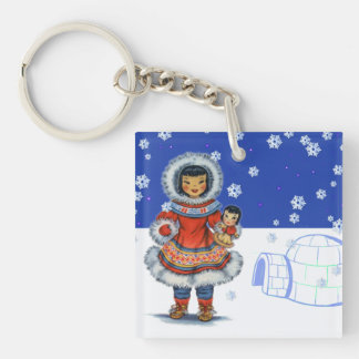 Little Eskimo Girl With Doll Igloo and Snow Keychain