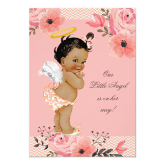 Little Ethnic Angel Watercolor Flowers Baby Shower Card