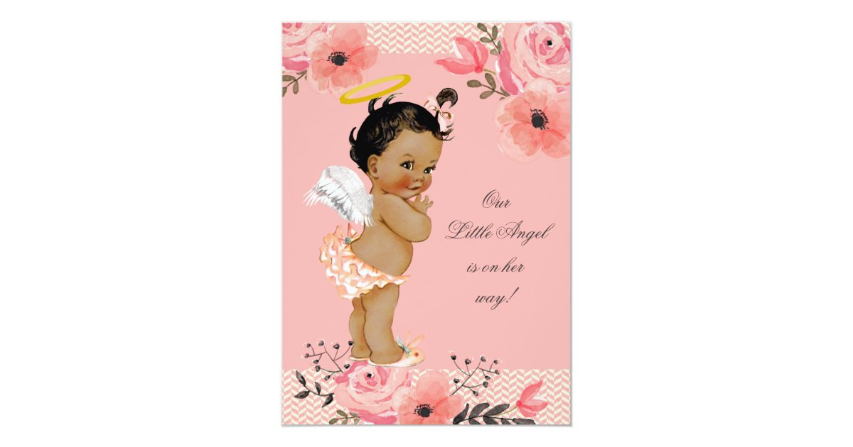Little Ethnic Angel Watercolor Flowers Baby Shower Invitation ...