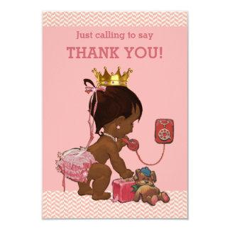 Little Ethnic Princess on Phone Thank You Chevrons Card