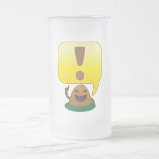 little exclamation frosted glass beer mug