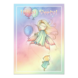 Little Fairy and Cat Birthday Party Invitations