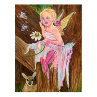 Little fairy fawn spring postcard