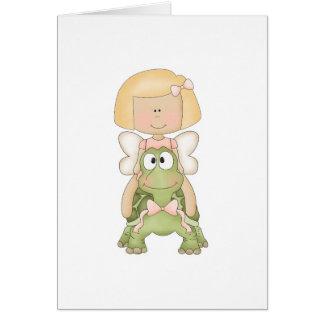 Little Fairy Girl Riding Turtle Card