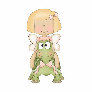 Little Fairy Girl Riding Turtle Statuette