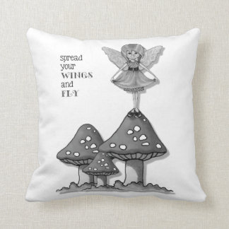 Little Fairy Girl, Spread Your WINGS, FLY, Pencil Throw Pillow