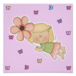 Little Fairy Girl with Flower Posters