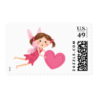 Little fairy love or Valentines day postage stamp