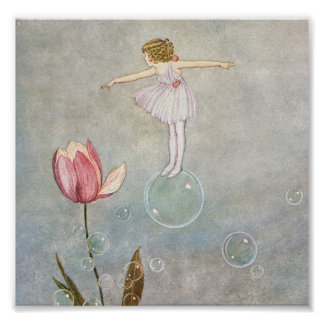 Little Fairy on a Bubble Poster