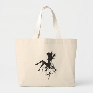 Little Fairy on a Flower Large Tote Bag