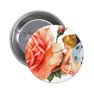 Little Fairy Painting Rose - Personalized 2 Inch Round Button