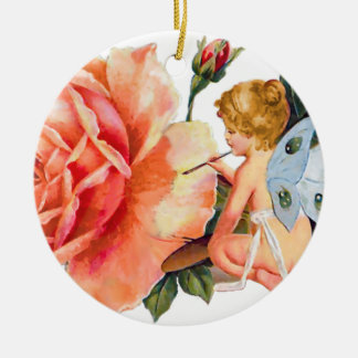 Little Fairy Painting Rose - Personalized Ceramic Ornament
