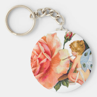 Little Fairy Painting Rose - Personalized Basic Round Button Keychain