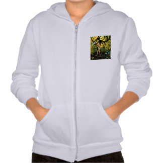 Little fairy playing in a magical forest sweatshirts