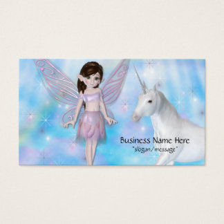 Little Fairy w/Unicorn Fantasy Business Cards