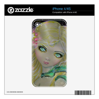 Little Fairy with Dragon Fantasy Art iPhone 4S Skins