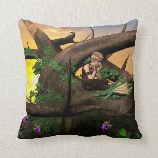 Little fairy with her dragon throw pillows