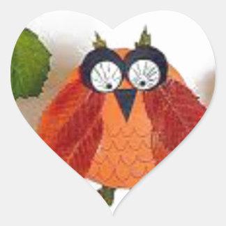 Little Fall Owl Heart Sticker